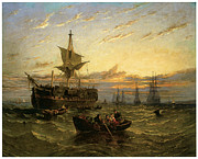 Sailing Ships Posters - A Dismantled East Indiaman in the Thames Estuary Poster by William Adolphus Knell