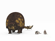 Large Scale Posters - A Doedicurus Glyptodont Compared Poster by Walter Myers