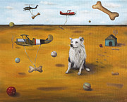 Helicopters Paintings - A Dogs Dream by Leah Saulnier The Painting Maniac