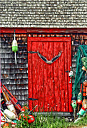 Red Shack Framed Prints - A Door In Maine Framed Print by Darren Fisher