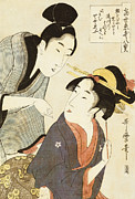 Oriental Style Paintings - A Double Half Length Portrait of a Beauty and her Admirer  by Kitagawa Utamaro