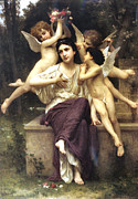 Religious Digital Art Prints - A Dream of Spring Print by William Bouguereau