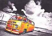Volkswagen Pastels Prints - A Drift Print by Art Haus Ink