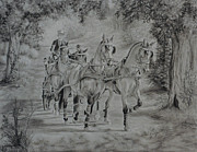 Hand Drawings Framed Prints - A Drive in the Country Framed Print by Gail Finger