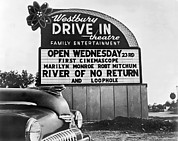 Drive In Theatre Framed Prints - A Drive-In Theater Marquee Framed Print by Underwood Archives