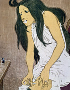 Nightgown Framed Prints - A Drug Addict Injecting Herself Framed Print by Eugene Grasset