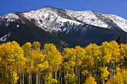 Fall Foliage Photos - A Dusting of Snow on the Peaks by Saija  Lehtonen