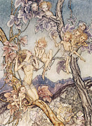 Night Scenes Posters - A Fairy Song from A Midsummer Nights Dream Poster by Arthur Rackham