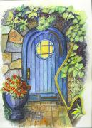 Fairies Drawings Posters - A Fairys Door Poster by Carol Wisniewski