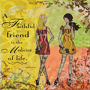 Symbolic Mixed Media Prints - A Faithful Friend Inspirational Christian artwork  Print by Janelle Nichol