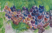 Blue Grapes Mixed Media Prints - A Family Cluster Print by Cori Solomon