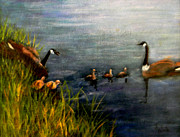 Canadian Geese Paintings - A Family Excursion by Judie White