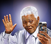 Civil Rights Paintings - A farewell Selfie To The World - Nelson Mandela  by Reggie Duffie