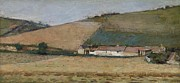 Architecture Painting Prints - A Farm Among Hills Print by Theodore Robinson