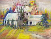 Side Pastels Prints - A Farm in Autumn Print by Kemberly Duckett