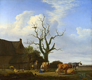 Famous Artists - A Farm with a Dead Tree by Adriaen van de Velde