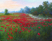 Poppies Field Pastels - A Field of Poppies by Christine Bass