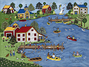 American Primitive Art Prints - A Fine Day For Fishing Print by Medana Gabbard