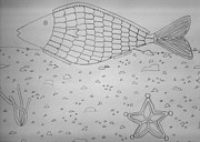 Featured Drawings - A Fish In The Sea the drawing by Hanna Khash