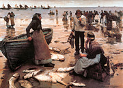 Seashore Digital Art Metal Prints - A Fish Sale on a Cornish Beach Metal Print by Stanhope Alexander Forbes