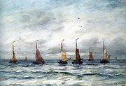 Tall Ships Framed Prints - A Fishing Fleet Framed Print by Hendrik Willem Mesdag