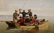 Sharks Painting Metal Prints - A Fishing Party Off Long Island Metal Print by Junius Brutus Stearns
