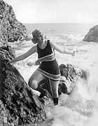 Bathing Photos - A Flapper In Her Bathing Suit by Underwood Archives