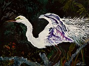 Crane Painting Originals - A Flash of White by Lil Taylor