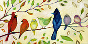 Bird Paintings - A Flock of Many Colors by Jennifer Lommers