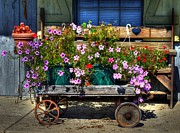 Metamora Metal Prints - A Flower Wagon Metal Print by Tri State Art