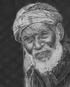 Old Man With Beard Prints - A Fly on his Turban Print by Quwatha Valentine