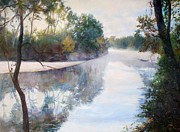 River Scenes Drawings - A foggy Day by Nancy Stutes