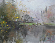 Georgetown Painting Originals - A Foggy Fall Day by the Pond  by Ylli Haruni