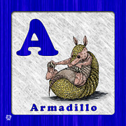 Animal Drawings Posters - A for Armadillo Poster by Jason Meents