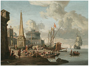 Sailing Ship Prints - A Fortified Mediterranean Port with an Obelisk Print by Abraham Storck