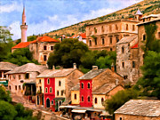 Historical Buildings Painting Posters - A Freed Mostar Bosnia Poster by Michael Pickett