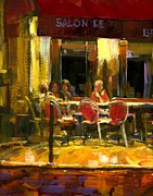Michael Swanson Painting Prints - A French Cafe and Friends Print by Michael Swanson