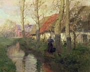 Holding Flower Framed Prints - A French river landscape with a woman by cottages Framed Print by Fritz Thaulow