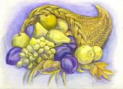 Purple Grapes Drawings - A Fruitful Horn of Plenty by Carol Wisniewski