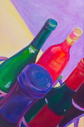 Wine Bottle Paintings - A Full Rack by Debi Pople