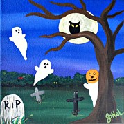 Pumpkins Paintings - A Funny Ghost by JoNeL  Art