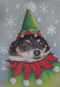 Terriers Pastels - A Furry Christmas Elf by Pamela Humbargar