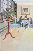 Interior Drawings Posters - A Game of Chess Poster by Carl Larsson