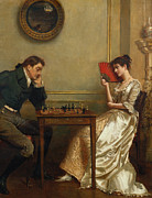 Chess Painting Framed Prints - A Game of Chess Framed Print by George Goodwin Kilburne