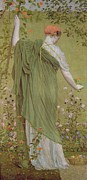 Beauty In Nature Painting Prints - A Garden Print by Albert Joseph Moore