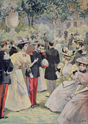 Outdoors Drawings - A Garden Party at the Elysee by Fortune Louis Meaulle