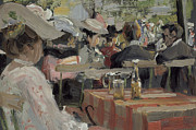 Wine Woman  Paintings - A Garden Restaurant by August Heitmuller