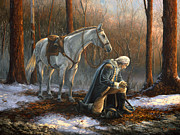 Prayer Painting Posters - A General Before His King Poster by Tim Davis