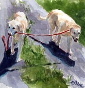 Dog Walking Painting Framed Prints - A Gentle Lead Framed Print by Molly Poole