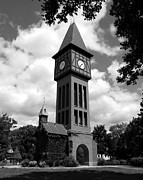 Clock Hands Photo Prints - A German Bell Tower bw Print by Mel Steinhauer